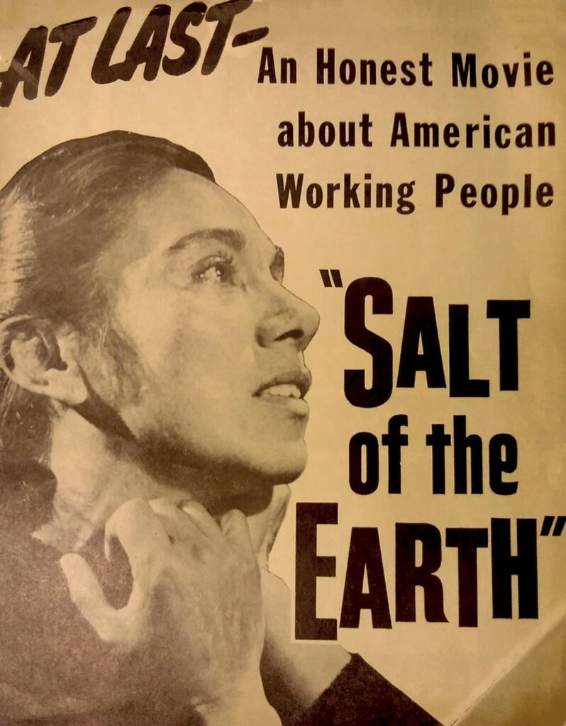 """Original poster for Salt of the Earth (1954) with the tagline """"At Last, an honest movie about American Working People."""""""