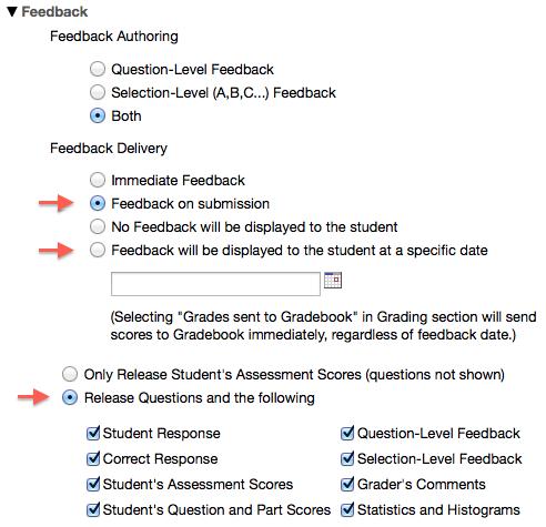 Sakai test feedback settings