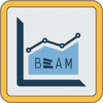 line graph icon with BeAM logo
