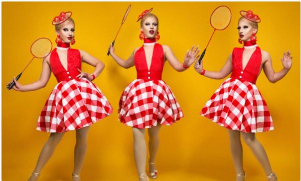 Triptych of drag queen Miz Cracker in a racquet ball-inspired outfit.