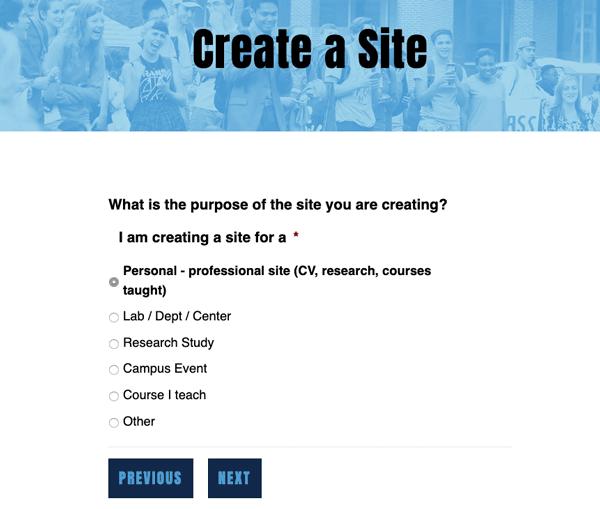 Create a site choices